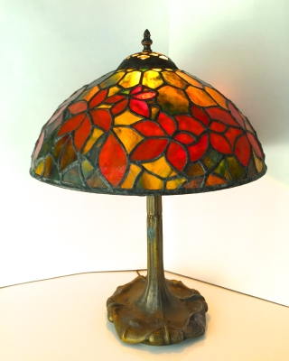Stained Glass Holly Lamp 16x20