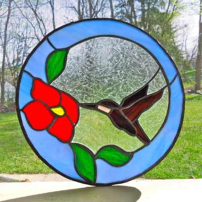 Stained Glass Hummer Square Reduced